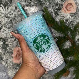 Rhinestone glitter ombré print reusable cold cup